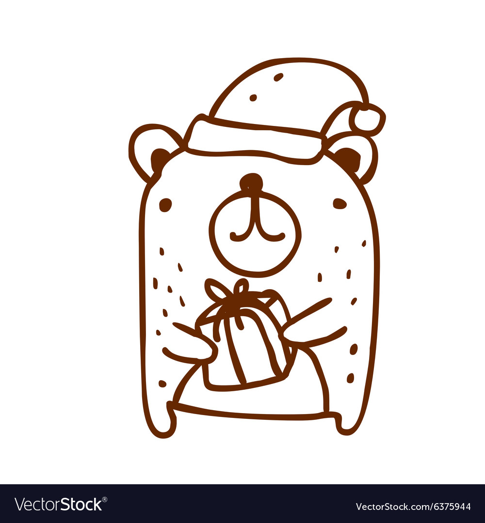 Hand drawn christmas bear vector