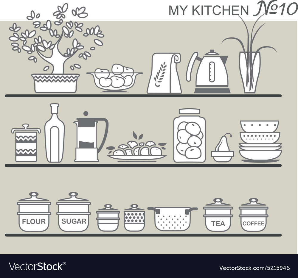 Kitchen utensils on shelves 8 vector