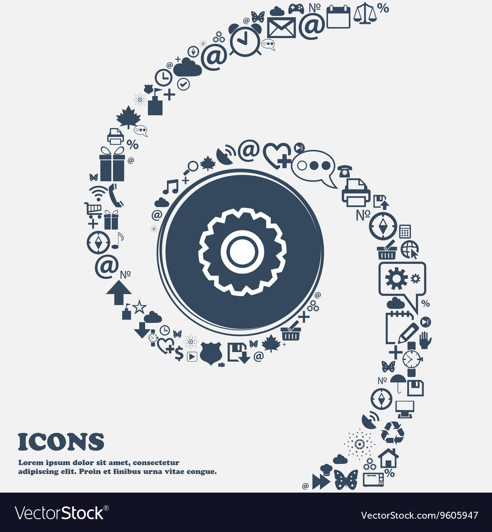 Cogwheel icon sign in the center around the many vector