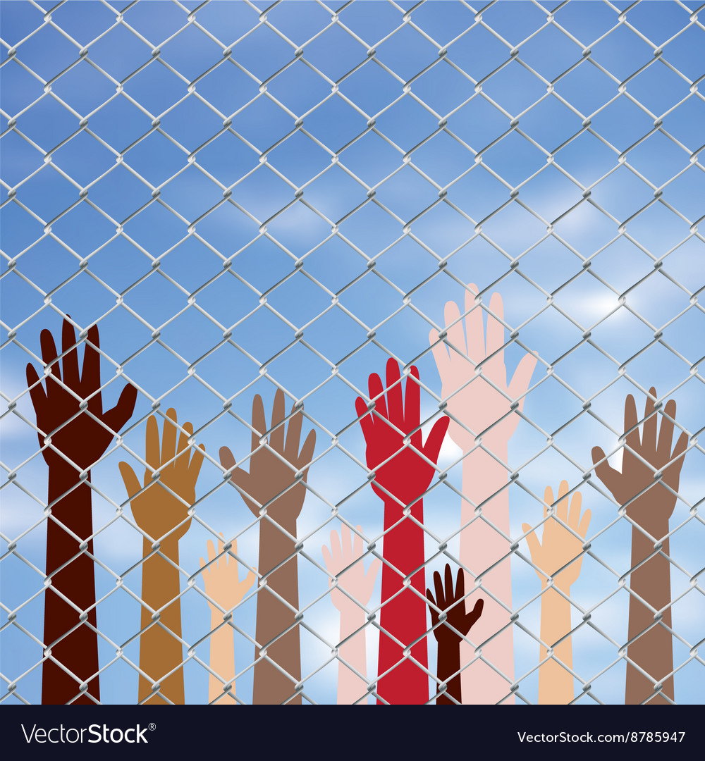 Hands behind a wire fence2 vector