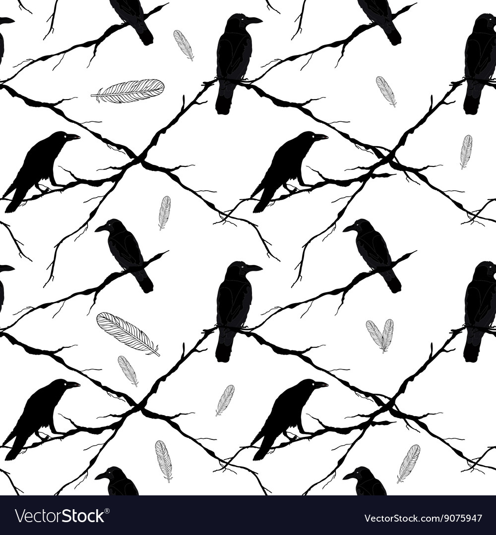 Seamless crows tree branches and feathers vector