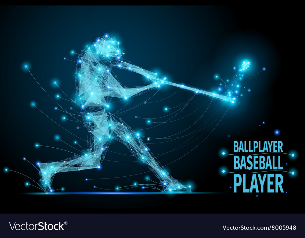 Baseball ballplayer polygonal vector