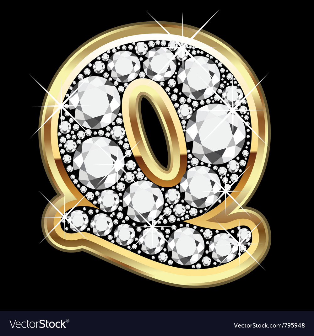 Letter q gold and diamond vector