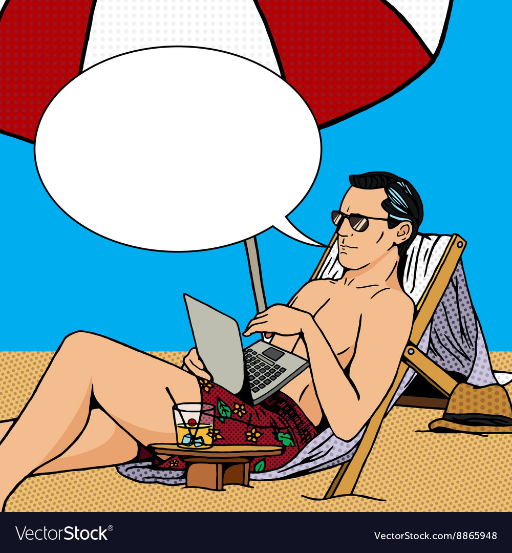 Man work on beach with laptop pop art vector