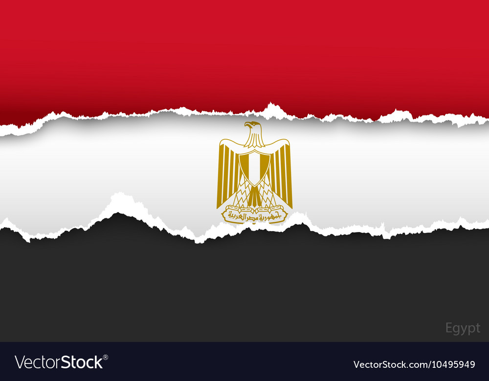 Design flag egypt from torn papers with shadows vector
