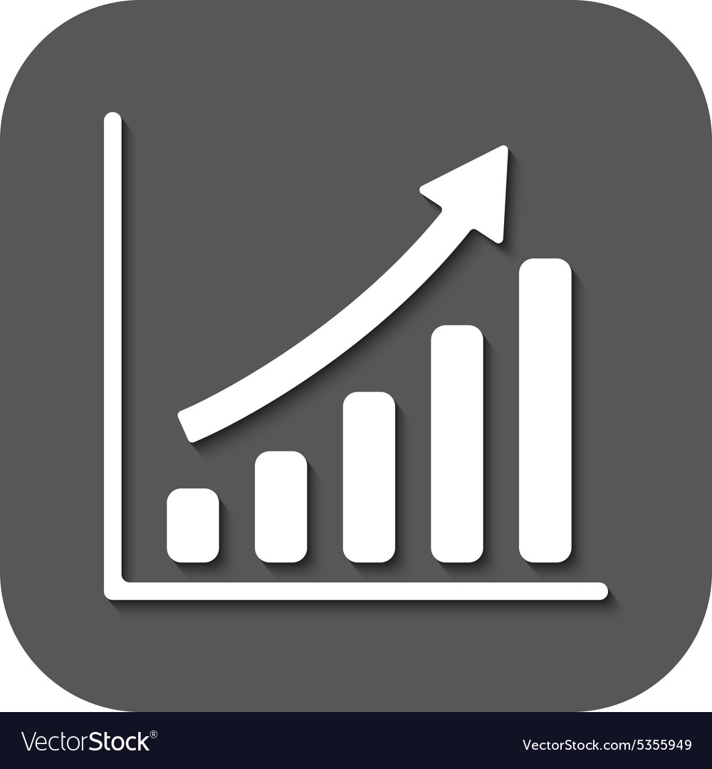 Growing graph icon progress symbol flat vector