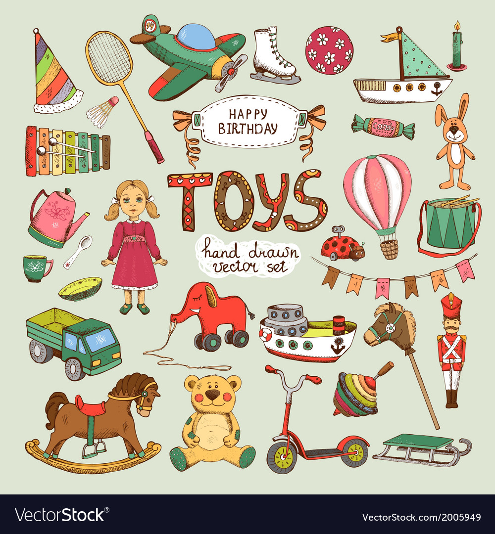 Happy birthday toys set vector