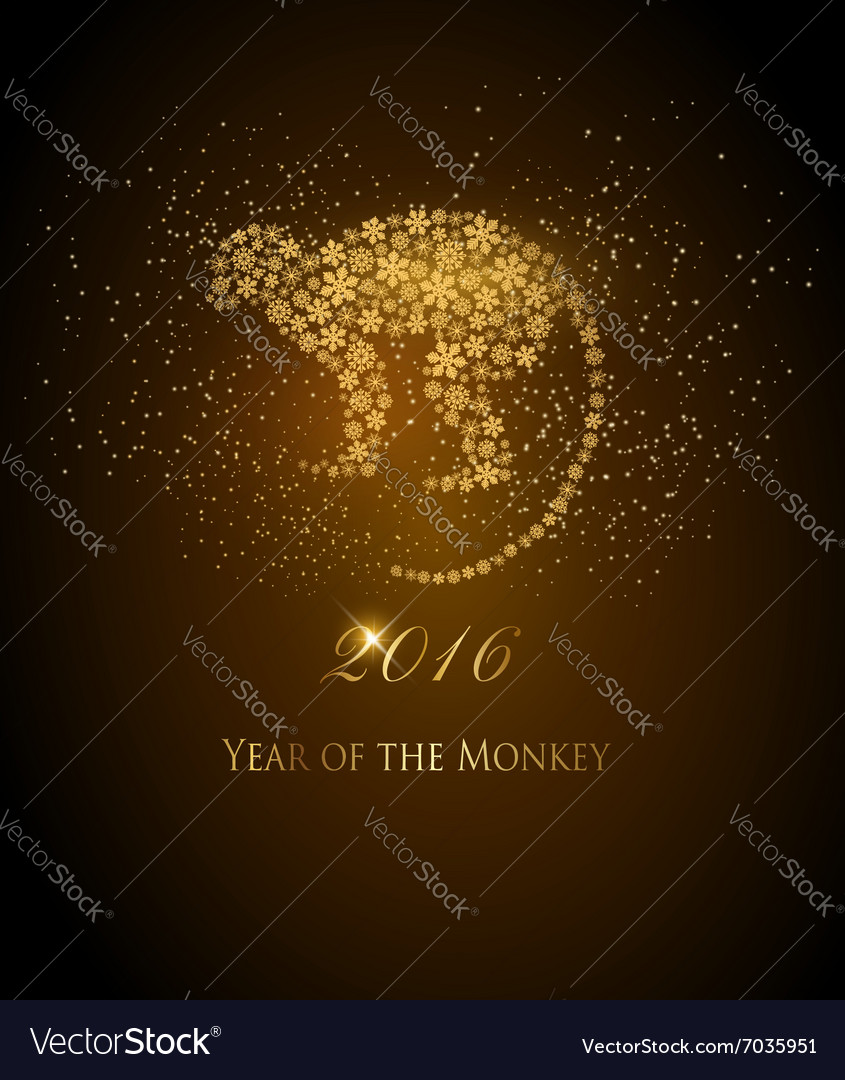 Happy new year 2016 background with a monkey year vector