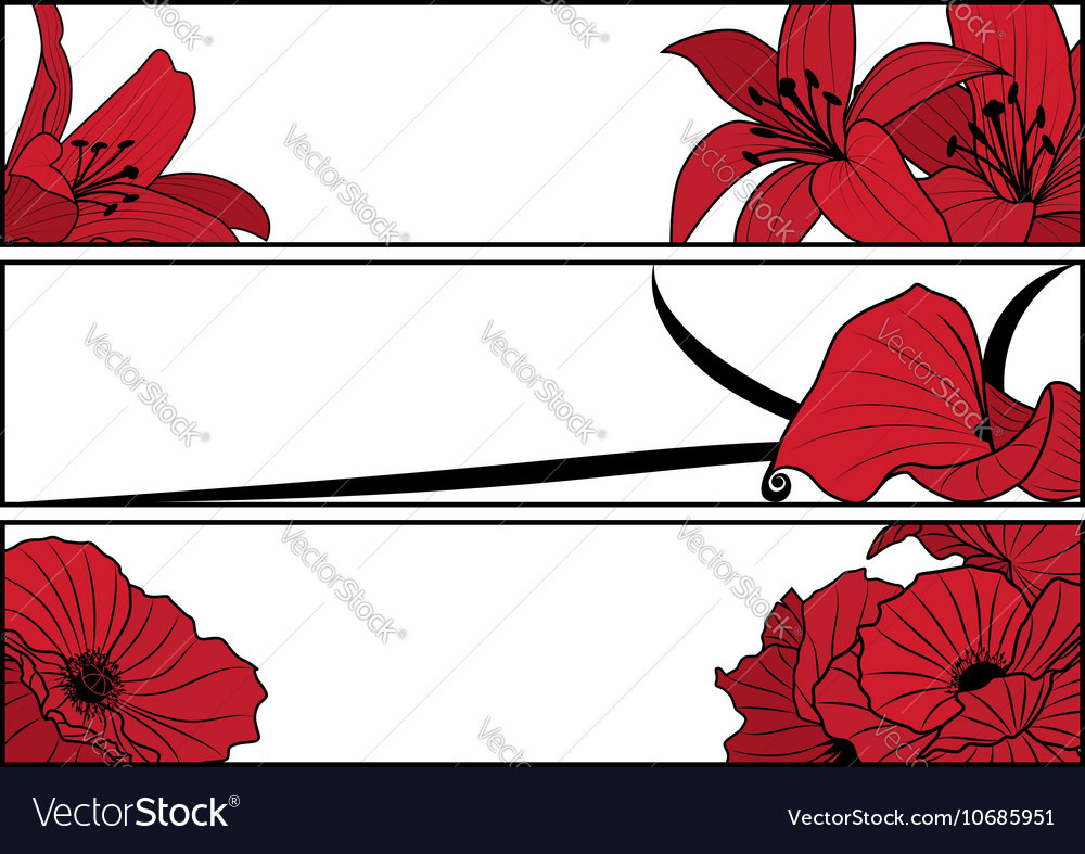 Set of floral banners vector