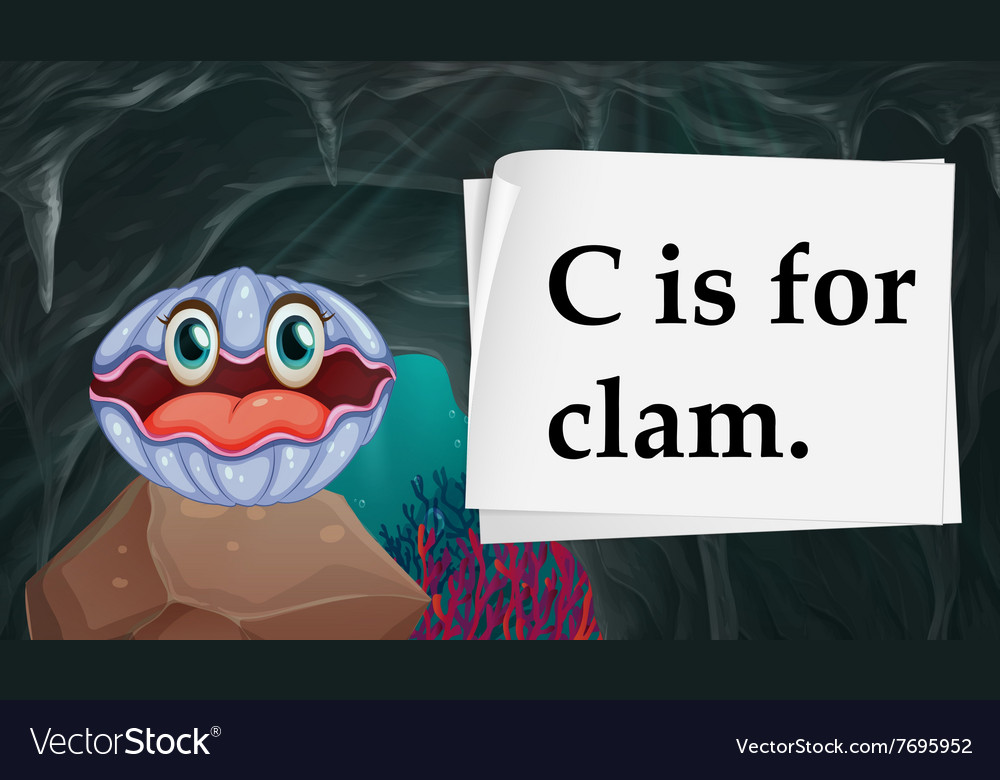 Letter c is for clam vector
