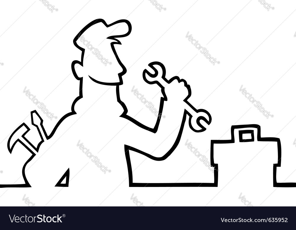 Repairman with tools vector
