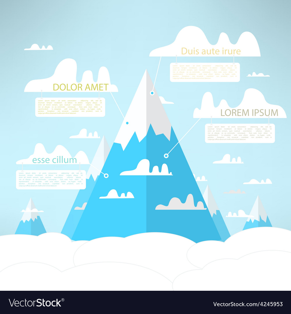 Mountains in the clouds tourism infographic simple vector