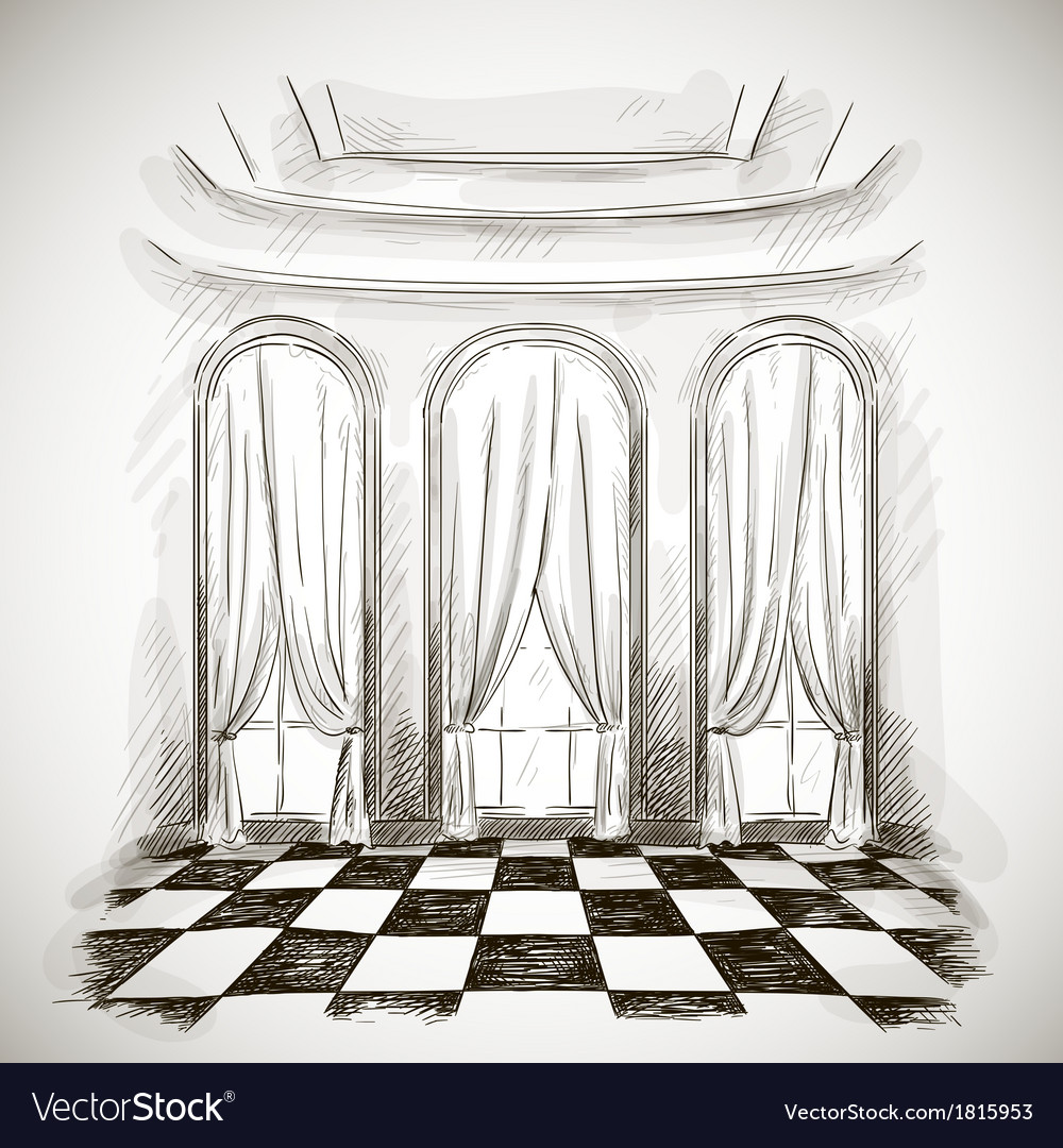 Sketch of a classic parlor ballroom vector