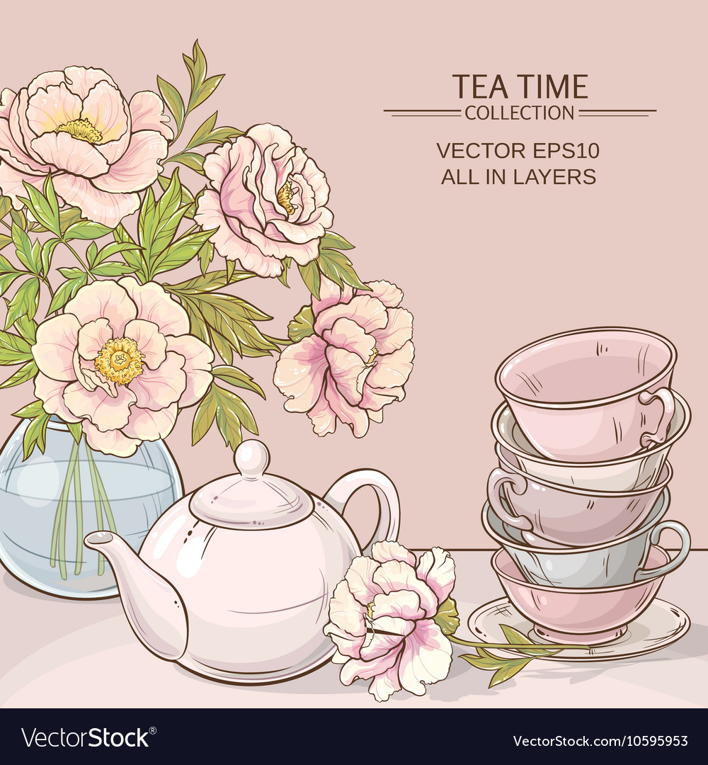 Tea time color vector