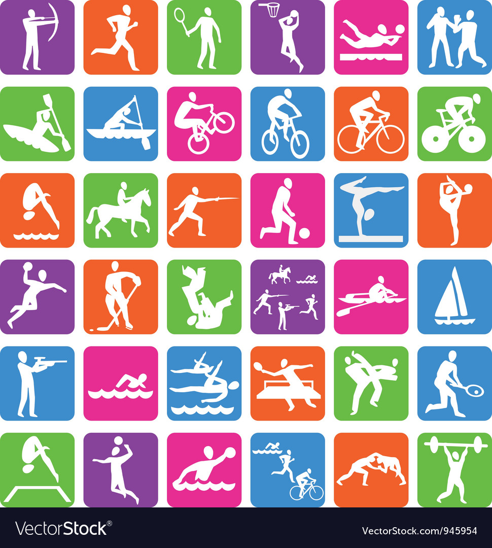Collection with 36 olympic sport icons vector