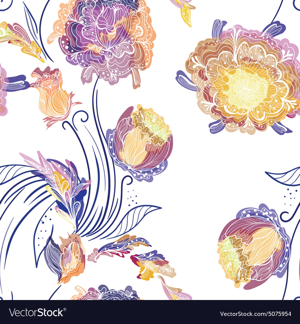 Japanese style floral pattern vector