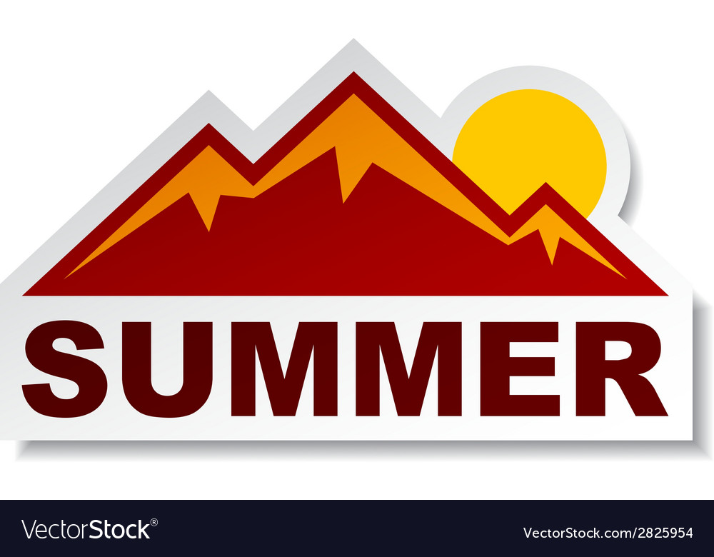 Summer mountain sticker vector