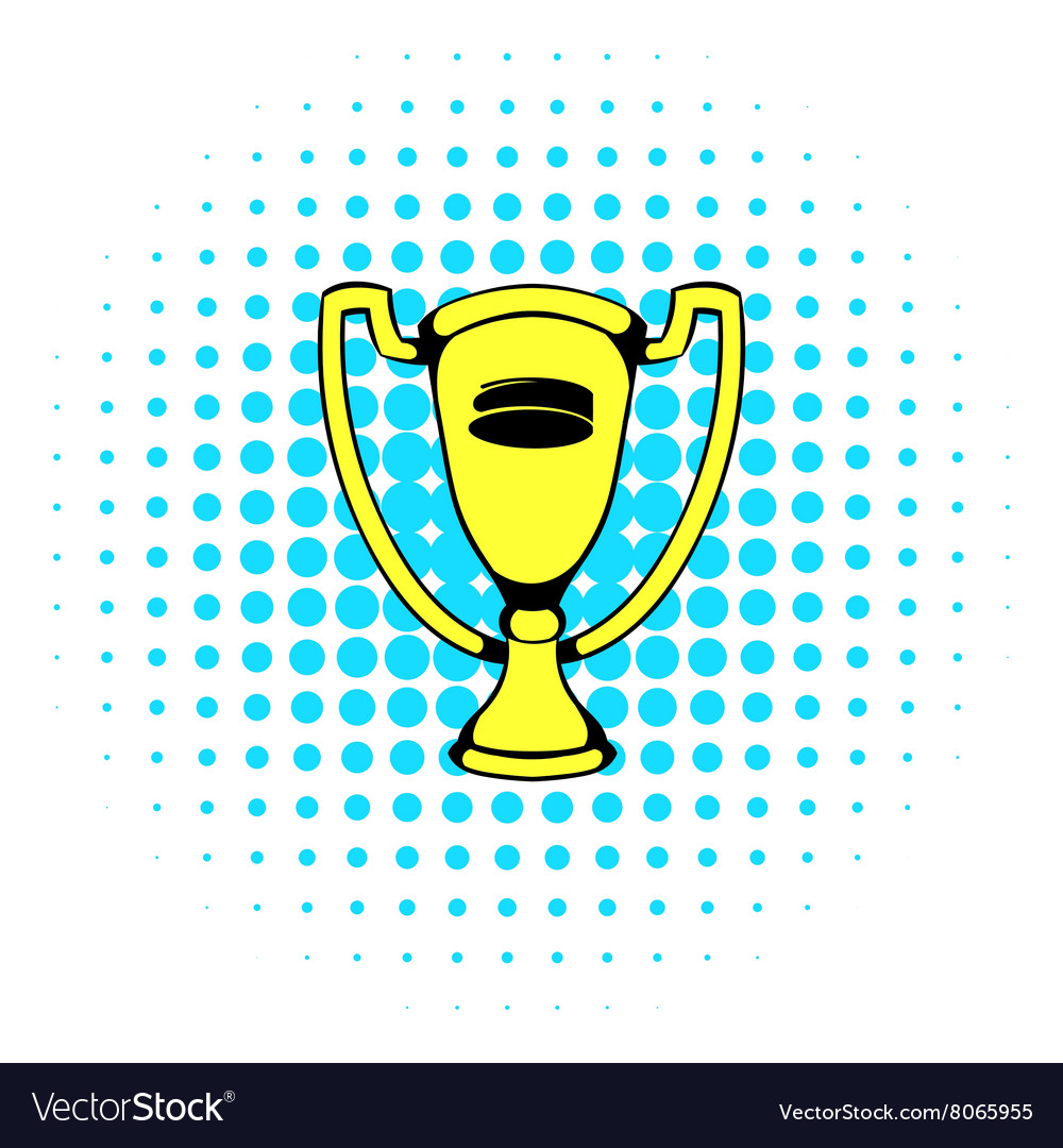 Gold shiny trophy cup award icon comics style vector