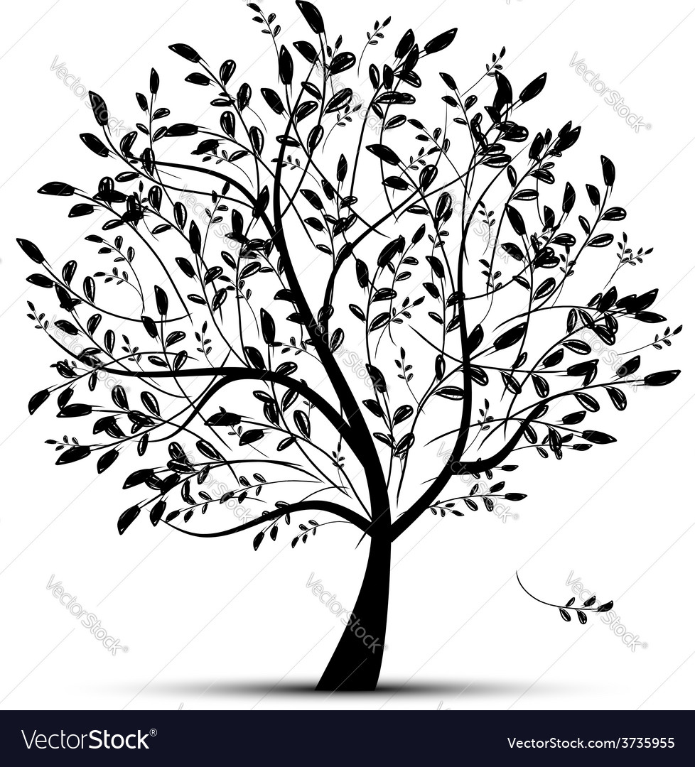 Spring tree green for your design vector