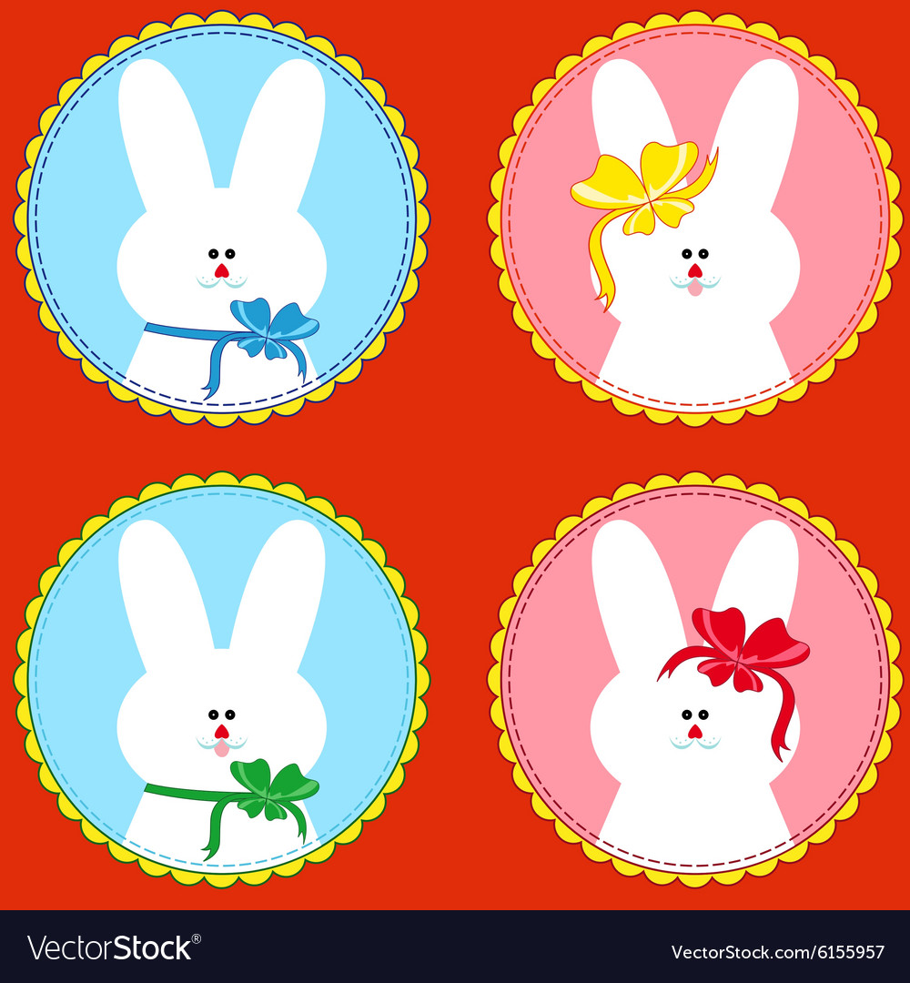 Four funny rabbits in round frameworks vector