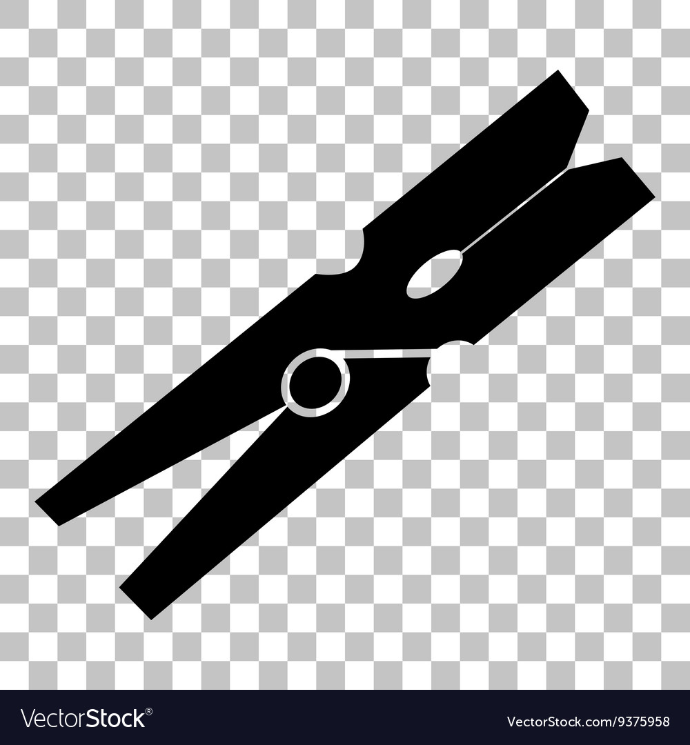 Clothes peg sign flat style black icon on vector