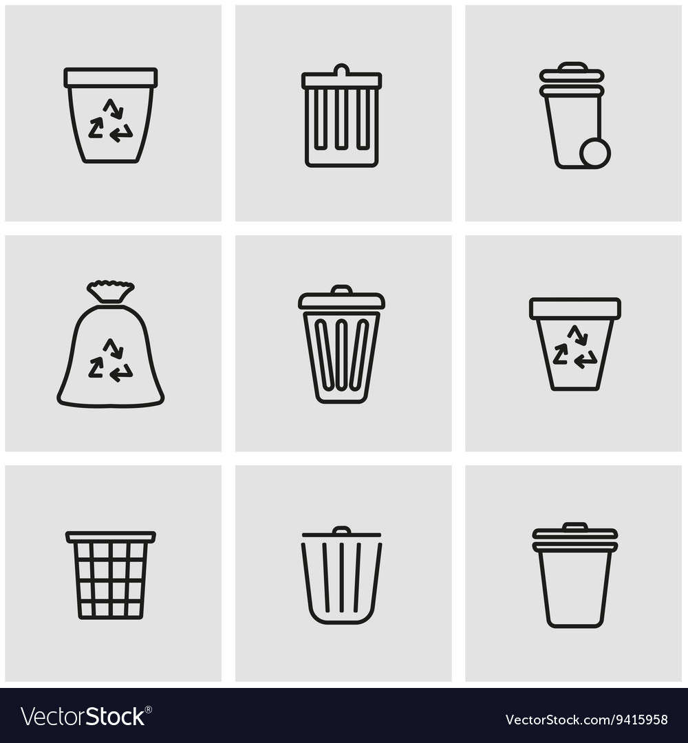 Line trash can icon set vector