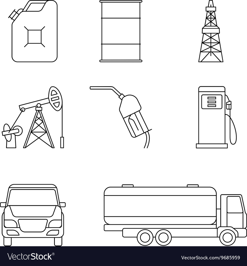 Linear oil icons vector