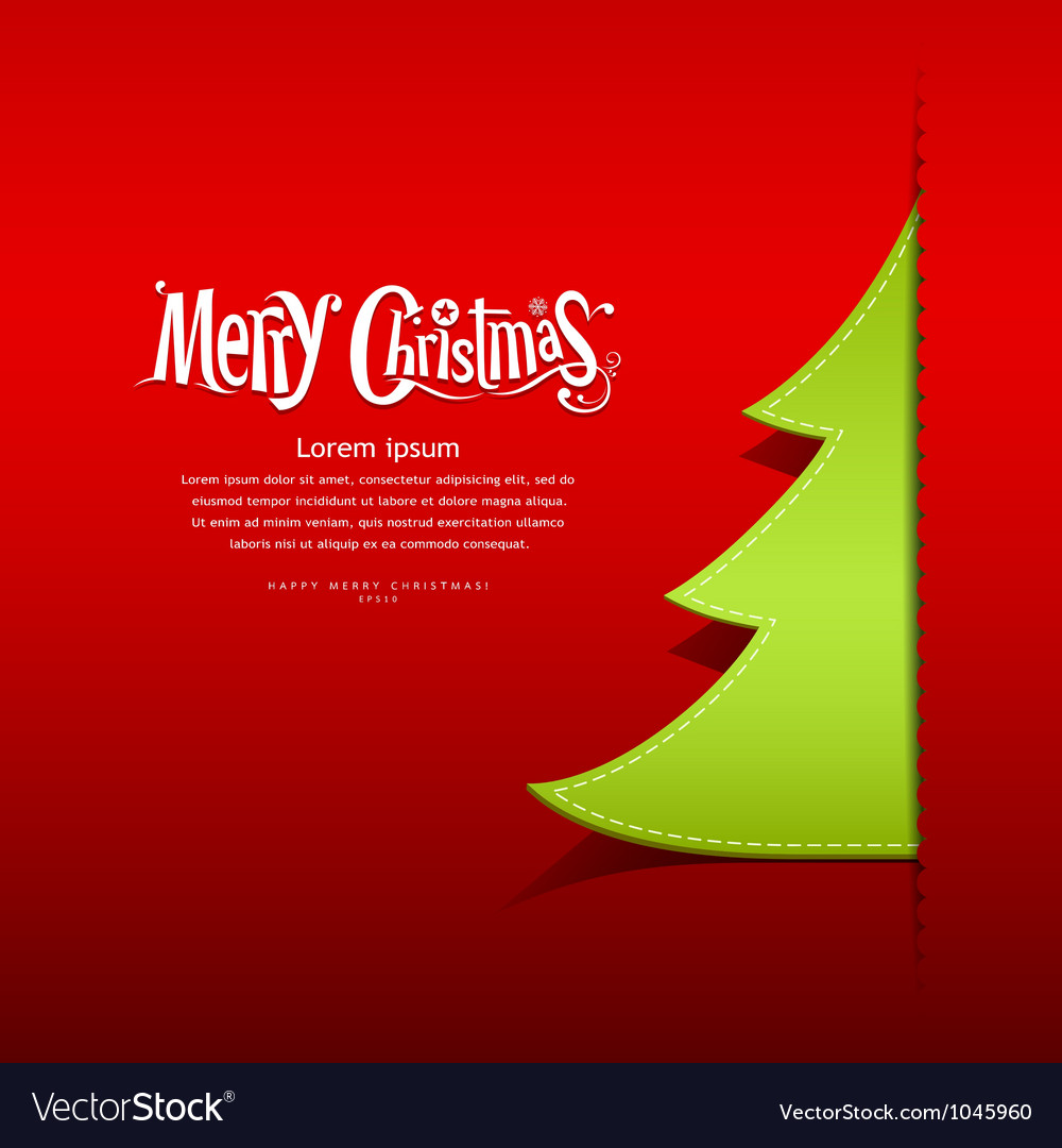 Christmas green tree paper design vector