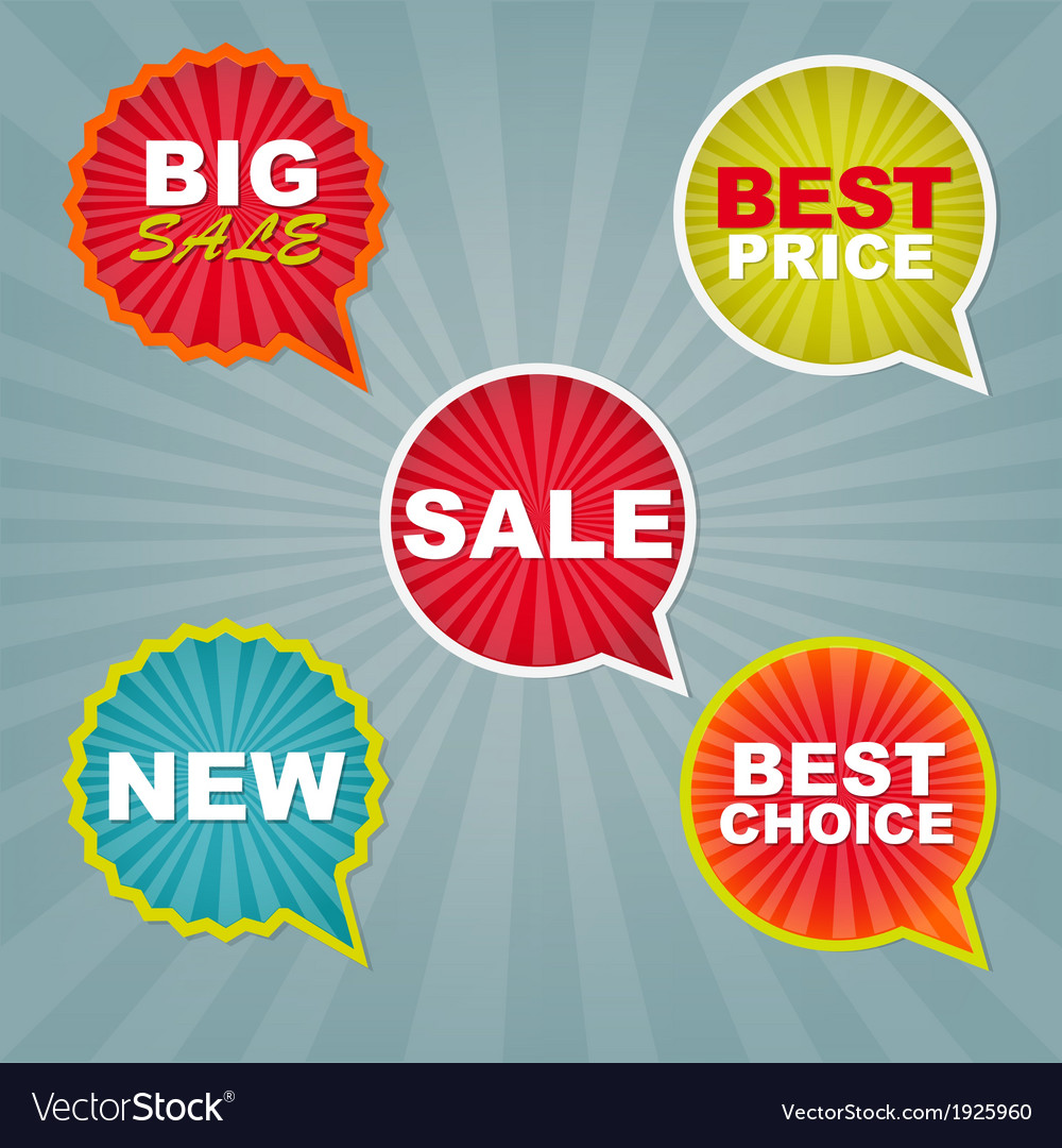 Colorful sale stickers and labels vector
