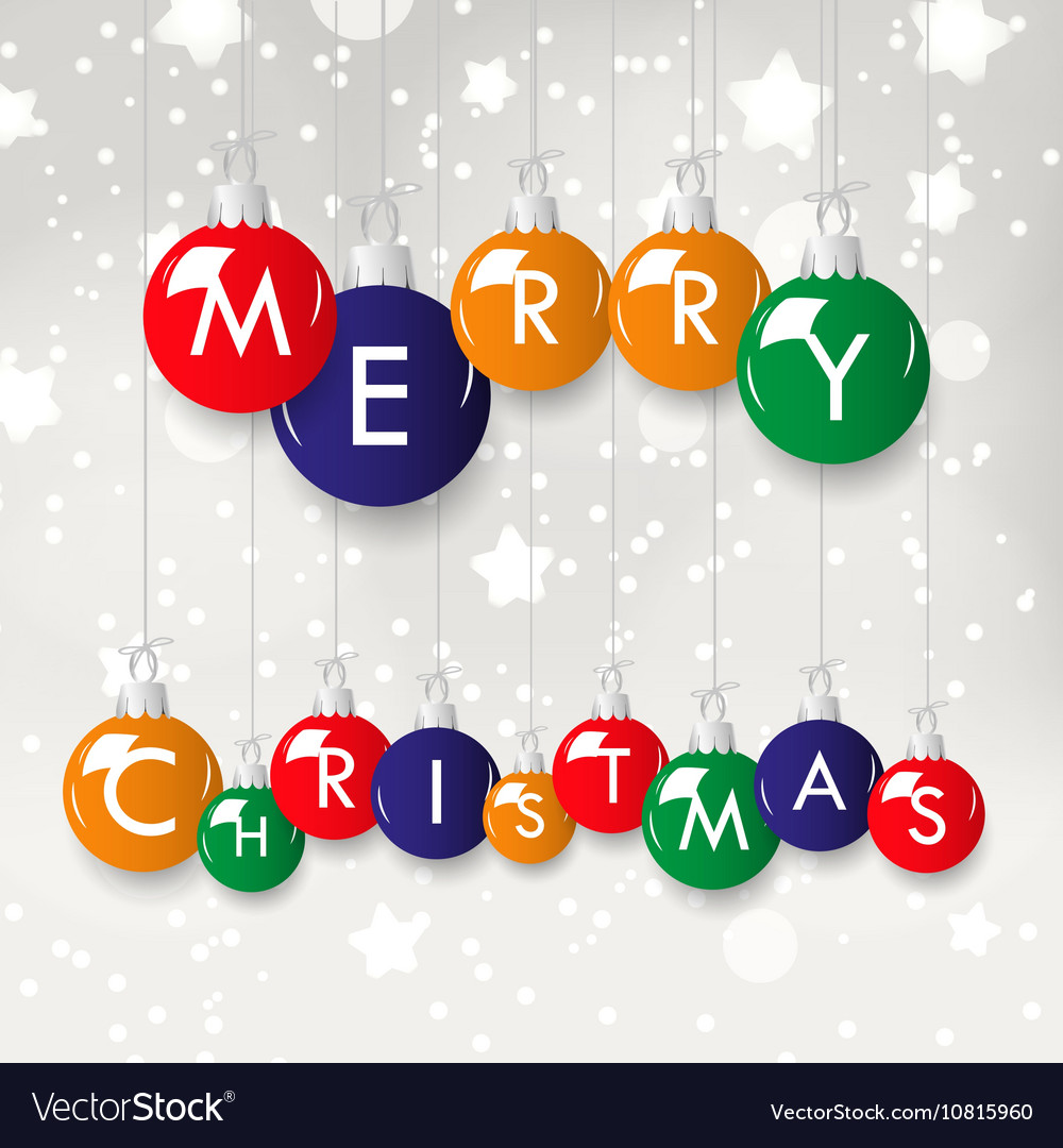 Shiny colorful merry christmas in decoration vector
