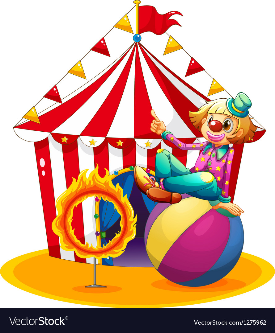 A clown sitting above a ball beside a ring of fire vector