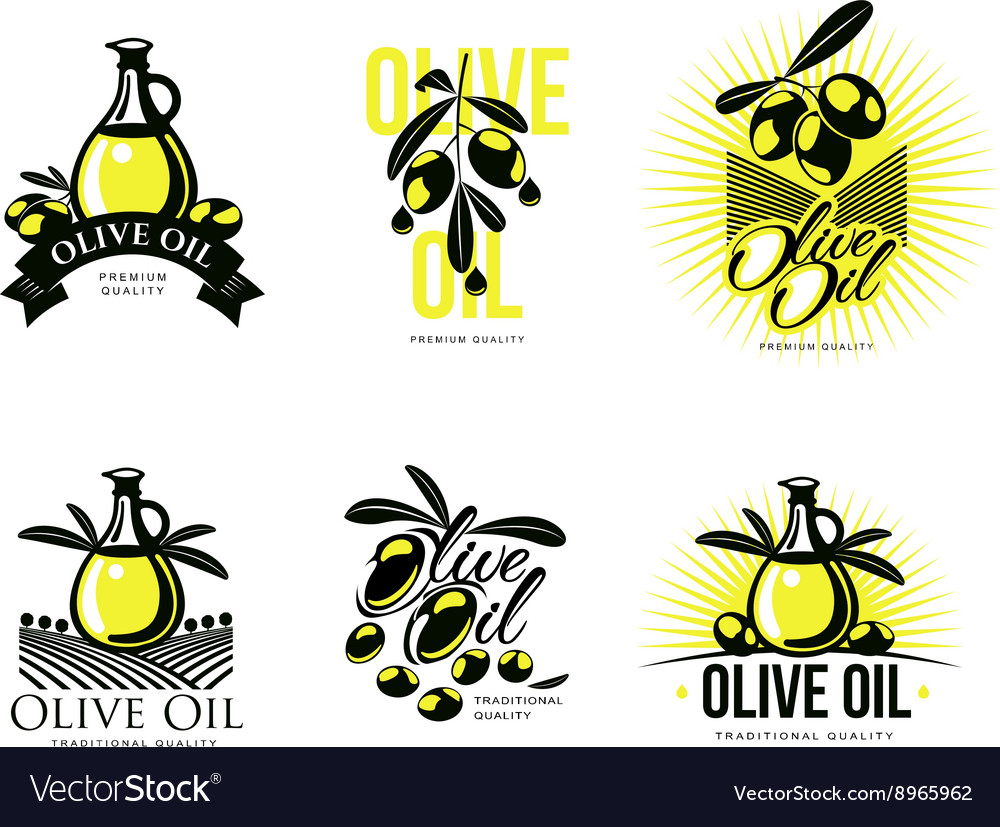 Logo set about olive oil vector