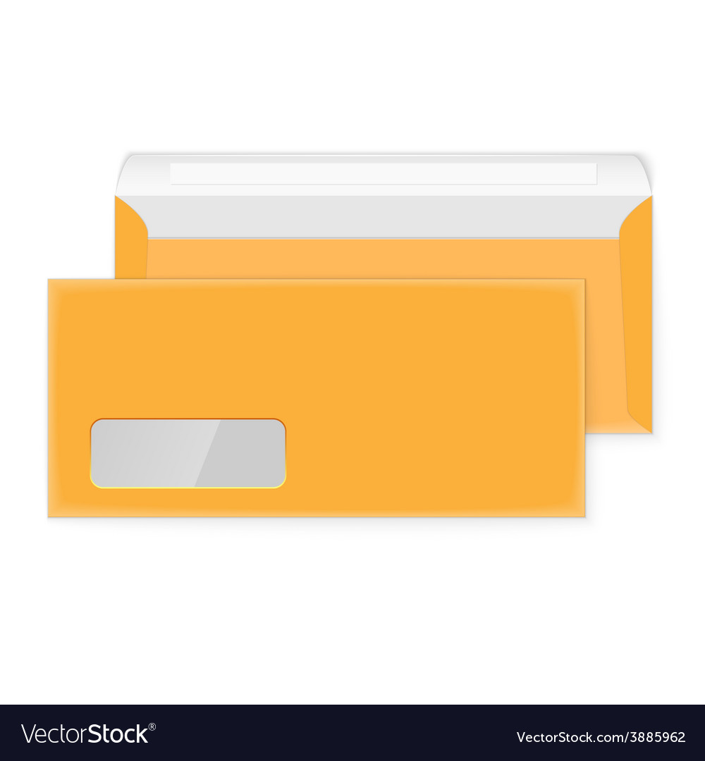 Two blank yellow envelopes opened and closed vector