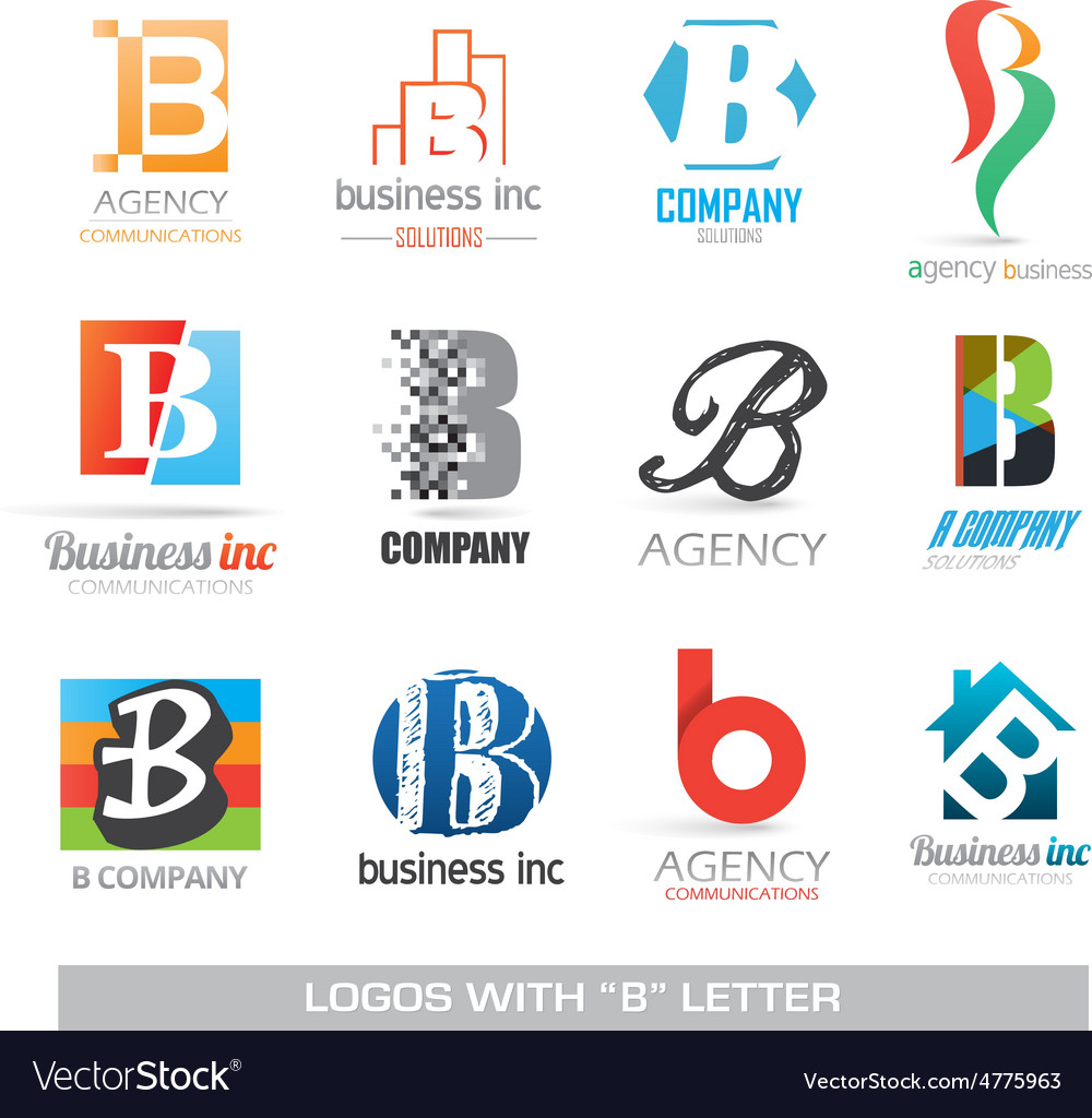 Business icons set with b letter vector