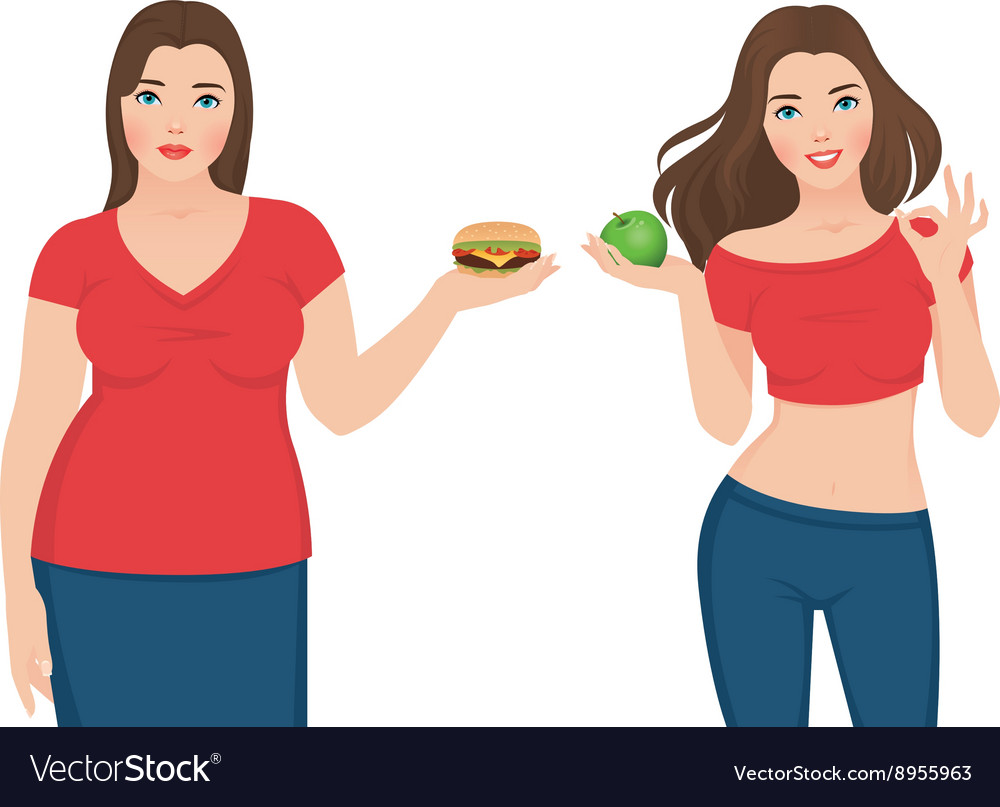 Fat and slim woman before and after weight loss vector