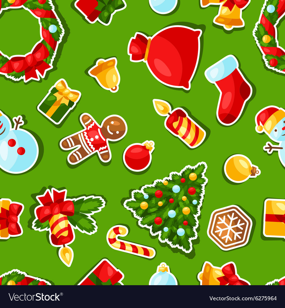 Merry christmas and happy new year sticker vector