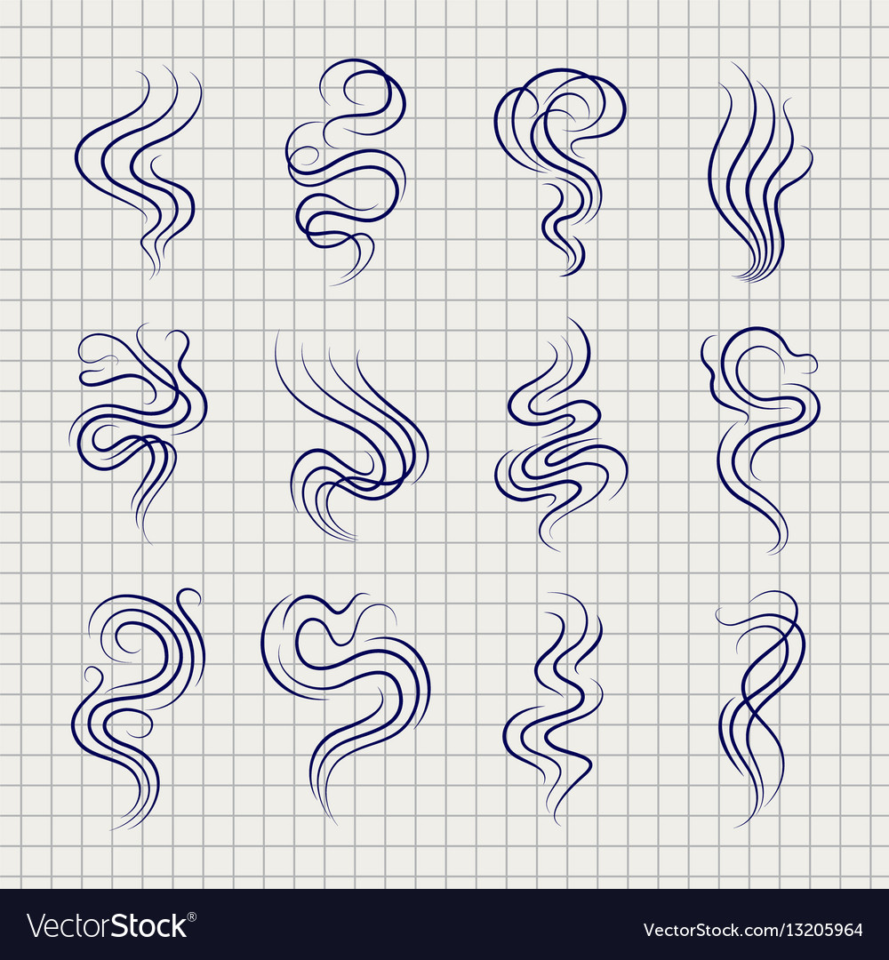 Smoke smell line sketch icons vector