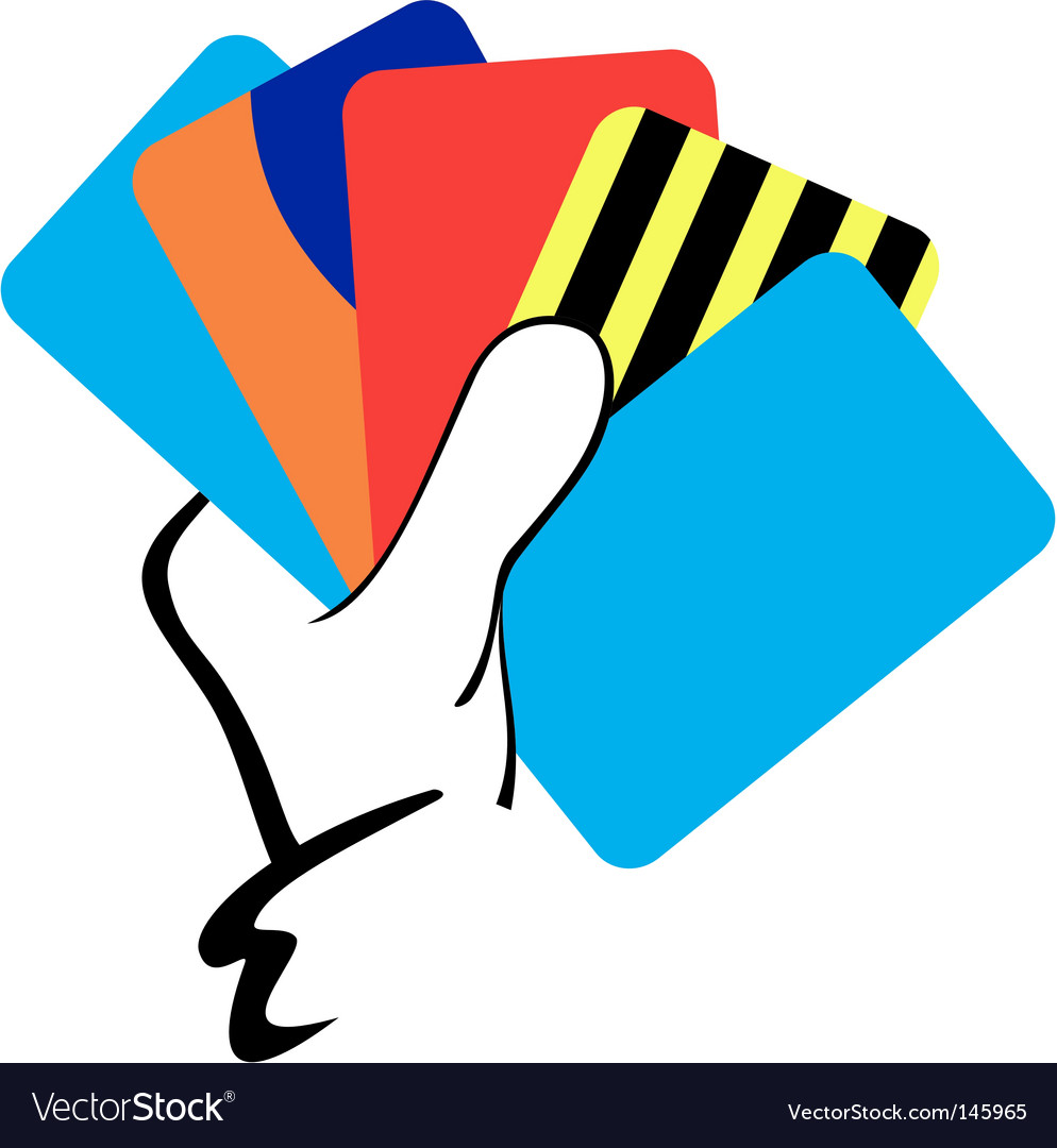 Hand with cards vector