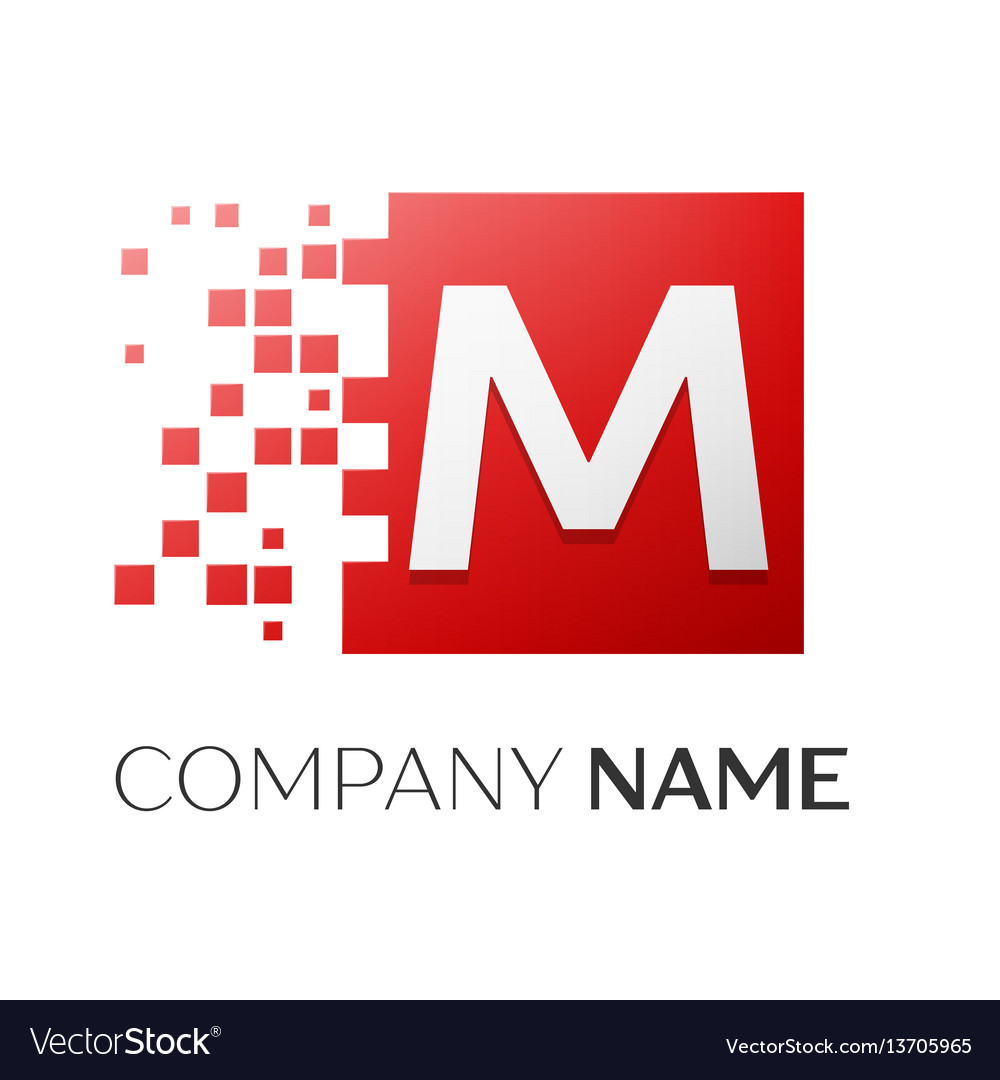 Letter m logo symbol in the colorful square with vector