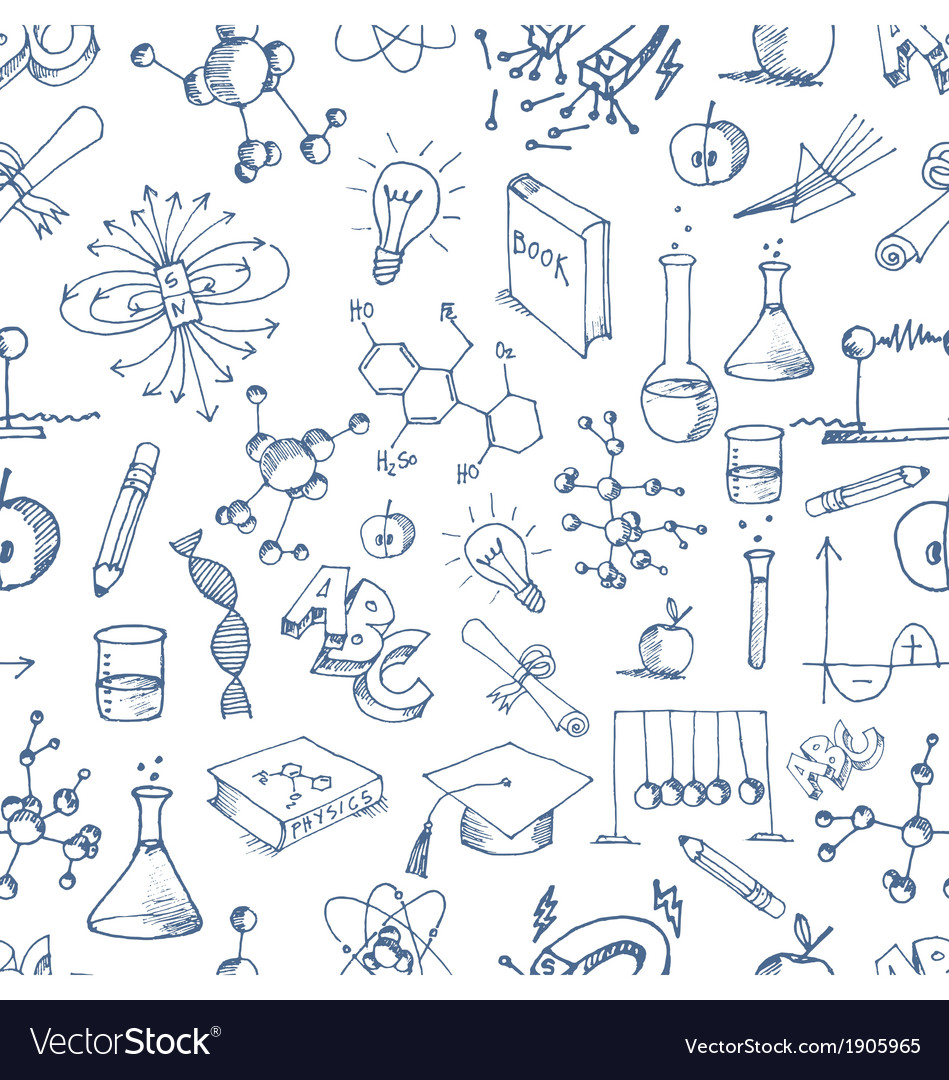 Seamless science icon doodles pattern vector