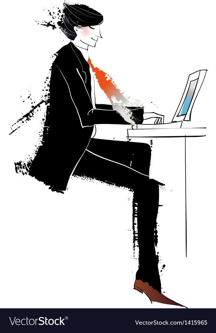 Side view of man with laptop vector