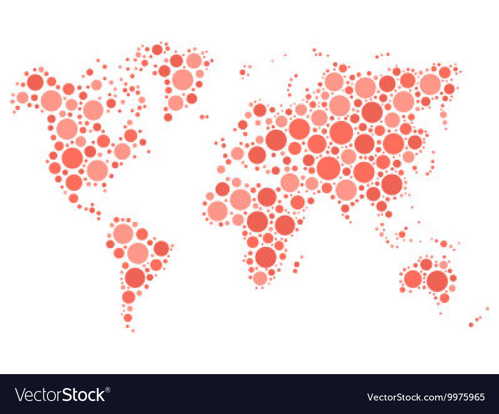 World map mosaic of red dots vector