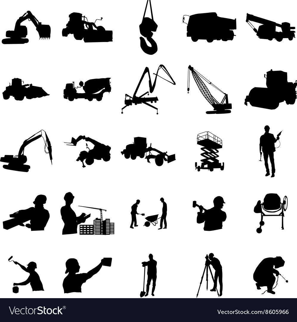 Construction silhouette set simple style vector