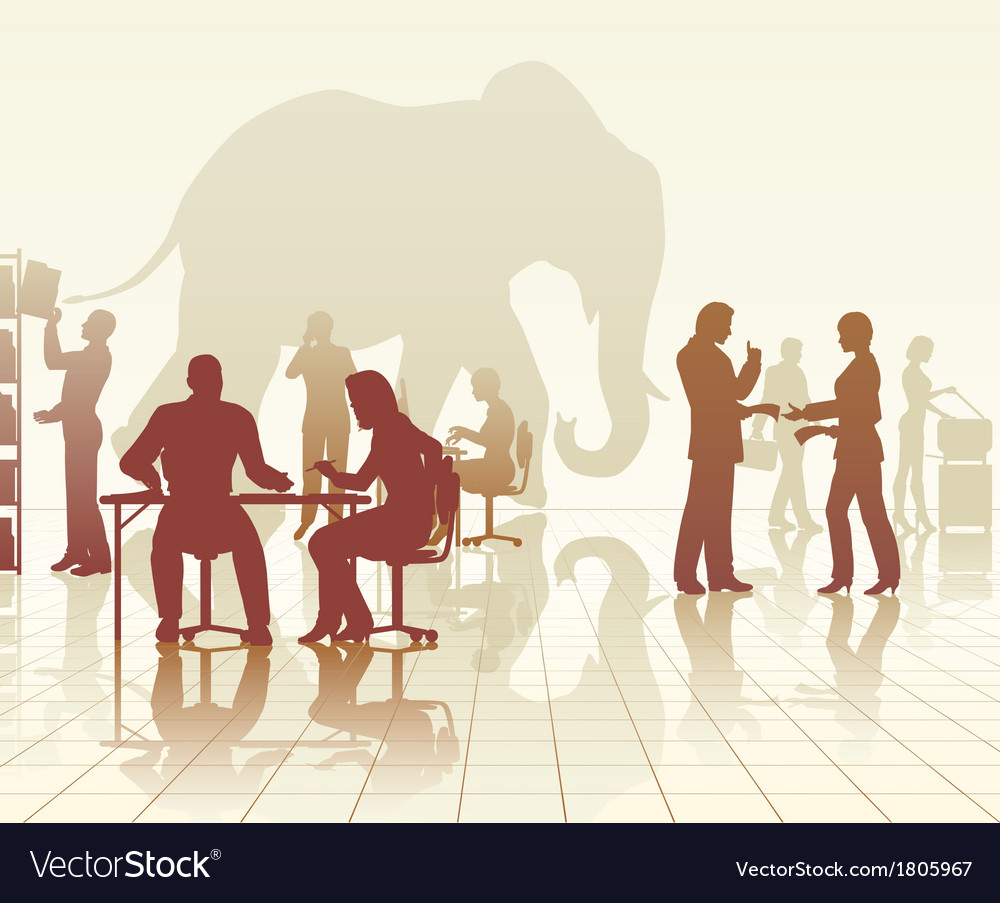 Elephant in the office vector