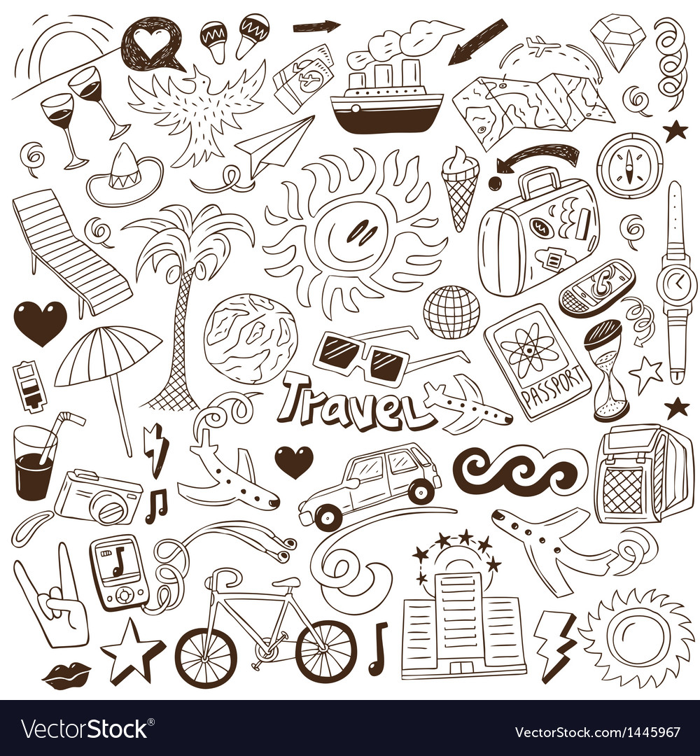 Travel  doodles collection vector