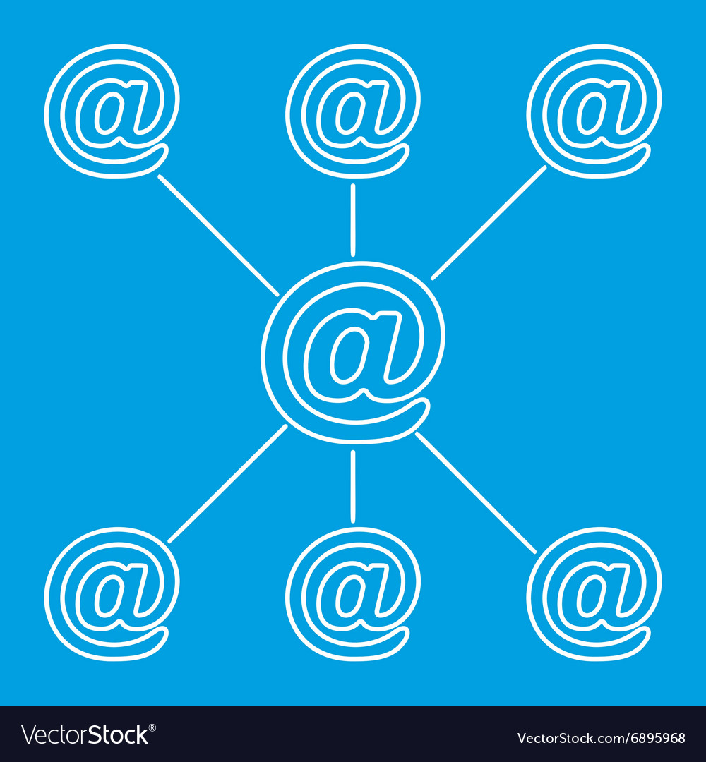 Email spreading line pictogram vector