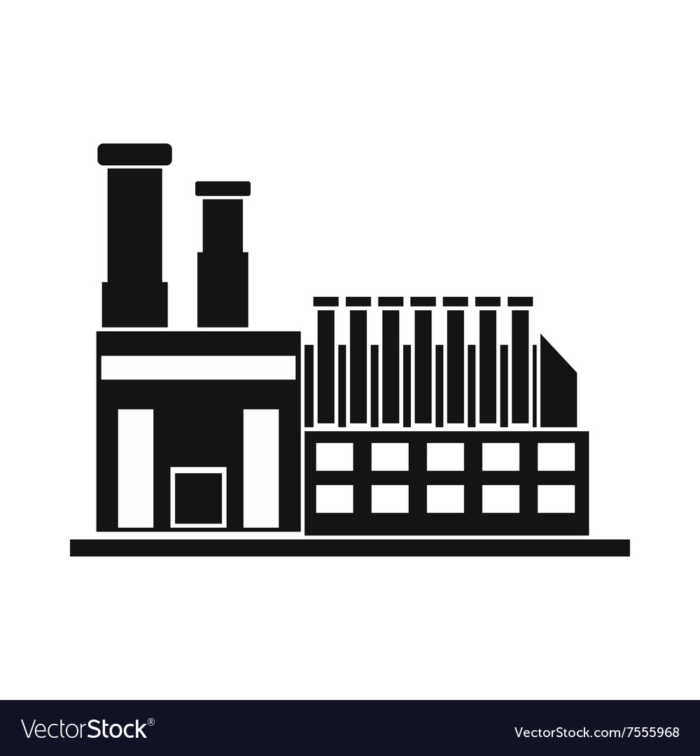 Factory building black simple icon vector