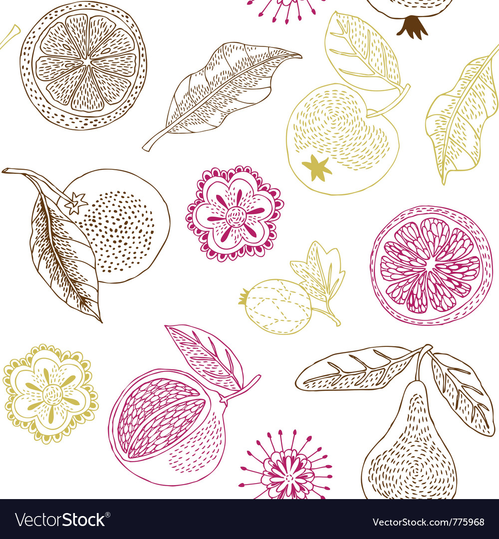 Fruit wallpaper drawing vector