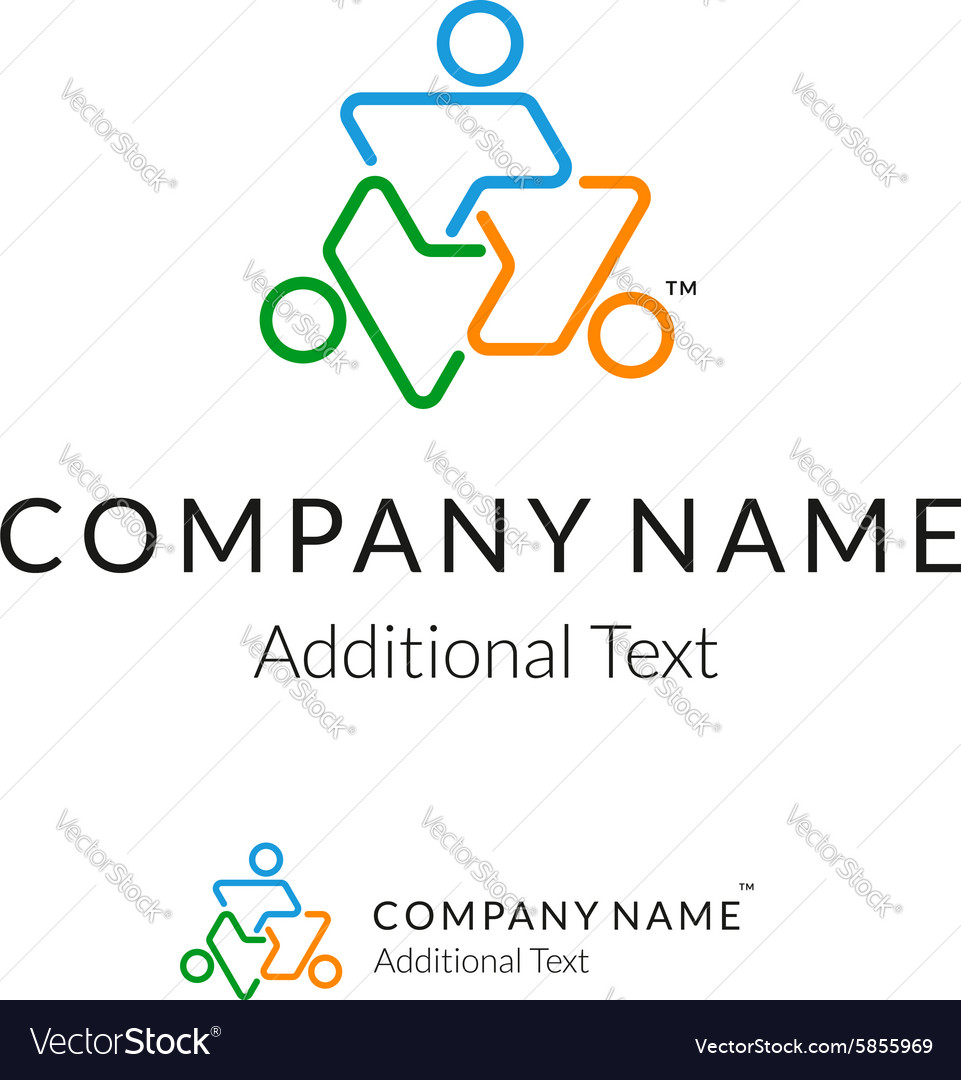 Contour logo with united people working together vector