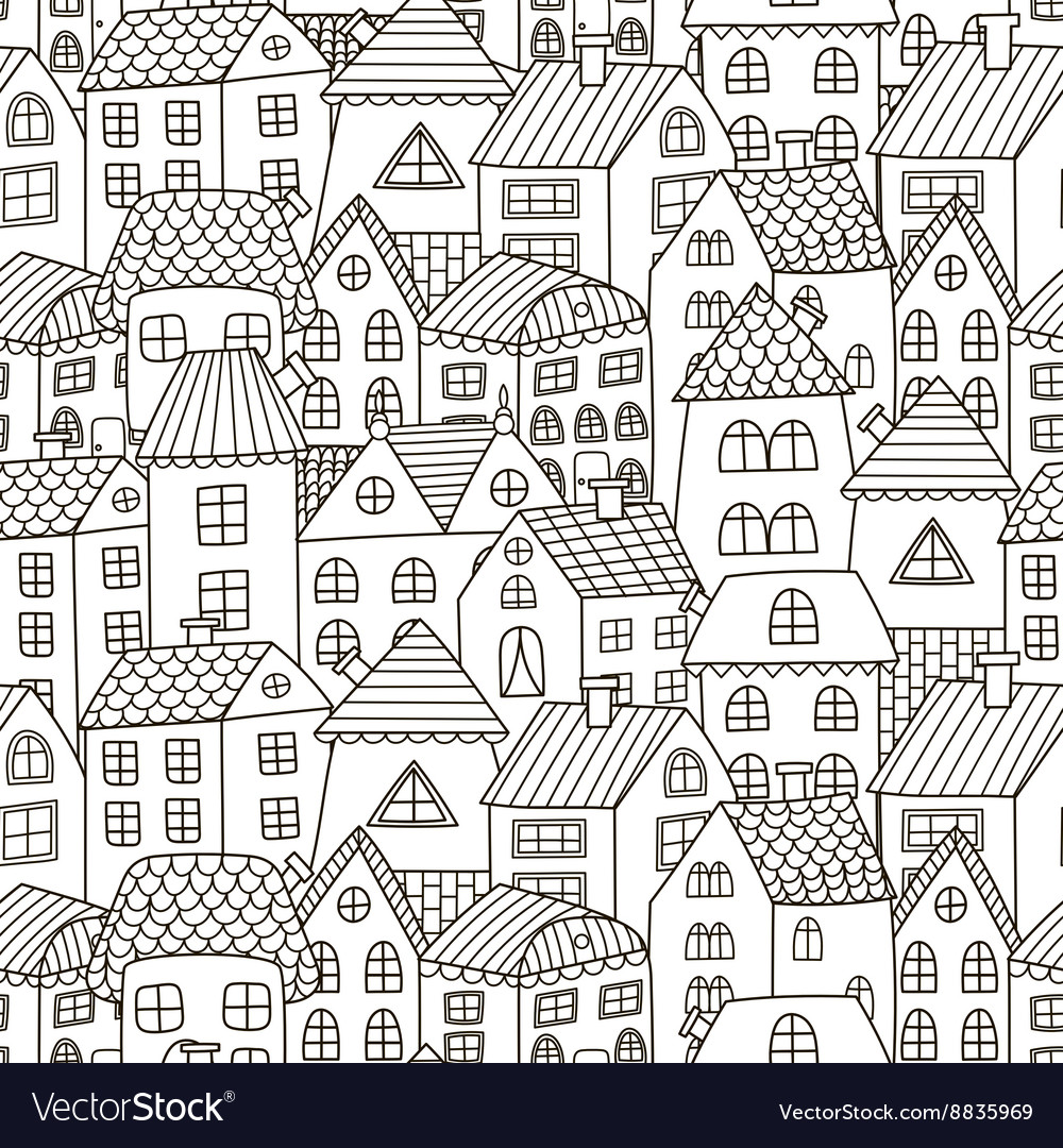 Doodle houses seamless pattern vector